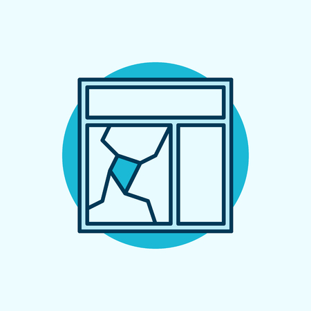 panes: Broken window glass icon. blue broken window concept symbol or logo element Illustration