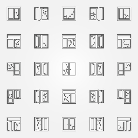 robberies: Broken windows icon set. windows with broken glass linear symbols elements in thin line style