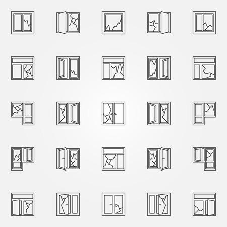 pane: Broken windows icon set. windows with broken glass linear symbols elements in thin line style