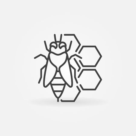 honeyed: Bee and honeycomb concept icon. honeybee thin line symbol. Beekeeping and apiary element Illustration