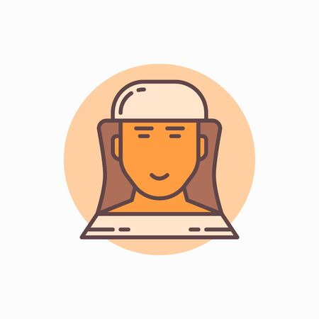 apiarist: Beekeeper flat icon. beekeeper or apiarist in hat colorful symbol Illustration