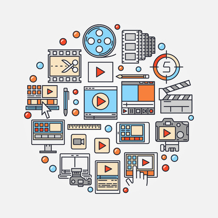 cine: Video production concept illustration. video edit round symbol made with colorful icons. Film-making sign or post production symbol