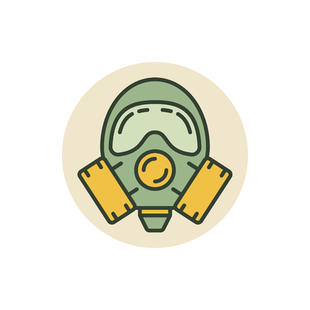 Gas mask vector icon. Colorful respirator or protective gas mask symbol or sign Illustration