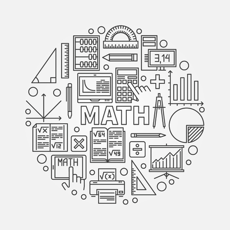 Math round line illustration. Vector mathematics education concept sign made with outline mathematical icons