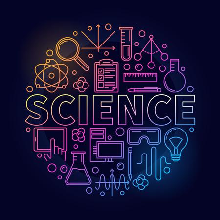 Dunne lijn science round-symbool. Vector kleurrijk wetenschapswoord met het cirkelvormige teken van het pictogrammenconcept in overzichtsstijl op donkere achtergrond