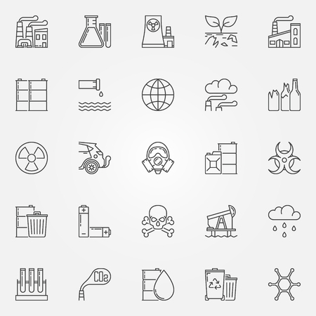 contamination: Pollution icons set - vector linear environmental pollution symbols. Soil and radioactive contamination signs in thin line style