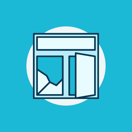 broken glass window: Broken window colorful icon. Flat creative cracked window symbol or sign on blue background