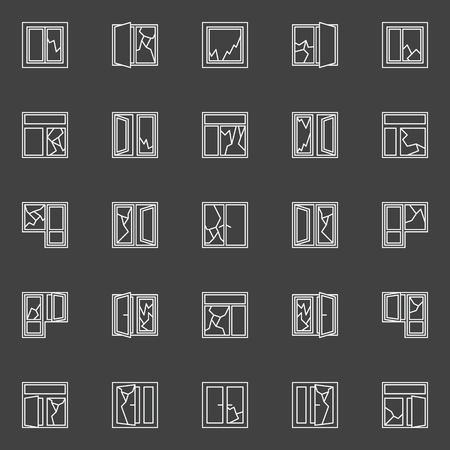 broken glass window: Broken window concept icons. Vector set of white window broken glass outline minimal symbols on dark background Illustration