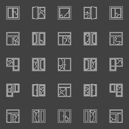 Gebroken raam begrip iconen. Vector set van witte venster gebroken glas schetsen minimale symbolen op een donkere achtergrond