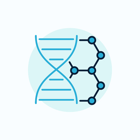 DNA vector flat icon. Colorful dna with molecule sign or blue biotechnology symbol Illustration