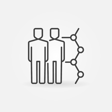 replica: Human cloning vector icon. Clone linear symbol. Two men with molecule outline symbol or logo element