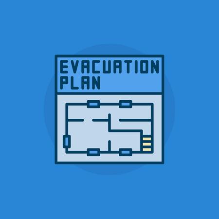 evacuation equipment: Evacuation plan flat icon - vector colorful symbol or pictogram. Simple blue evacuation plan sign Illustration