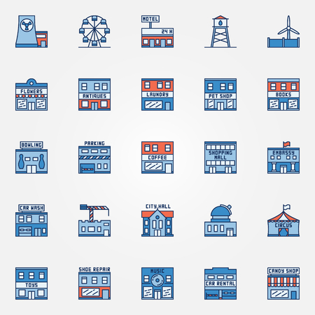 shoe repair: Colorful town building icons - vector set of flat urban buildings.