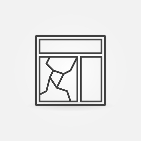 broken glass window: Broken window glass pane icon.