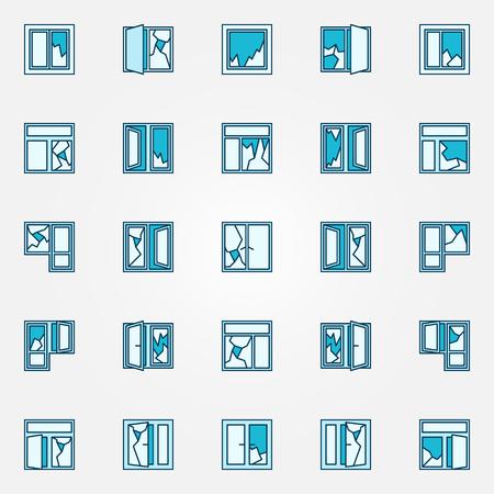 Kleurrijke gebroken glas iconen. Vector collectie van kleurrijke blauwe gebroken ruiten tekens of symbolen Vector Illustratie