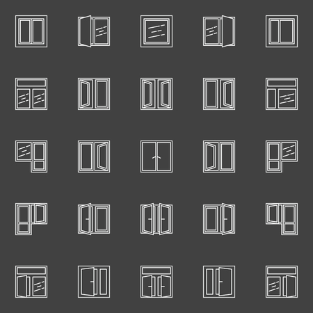 white window: Windows vector linear icons. Set of white window symbols or pictograms on dark background