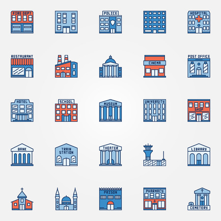 dept: Colorful building icons set. Vector flat government buildings symbol. Hospital, fire dept, pharmacy, airport, train station and other city signs