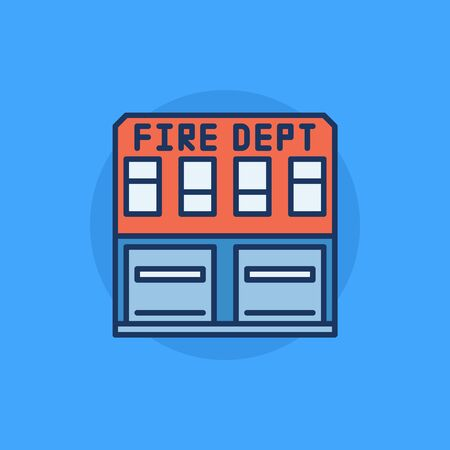 building fire: Fire department building flat icon - vector colorful fire station building symbol or logo element