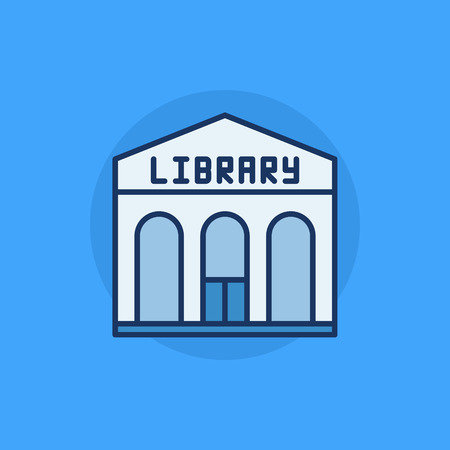 governmental: Library building flat icon - vector library colorful sign on blue background Illustration