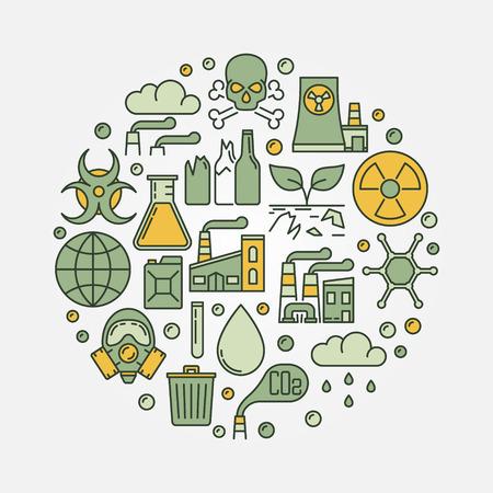 L'inquinamento ambientale rotondo segno Vettoriali