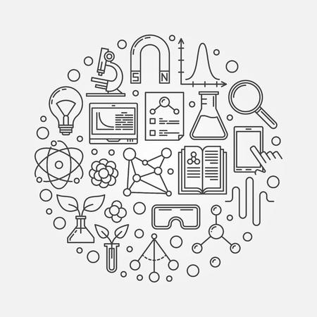 science scientific: science round illustration. Linear scientific research concept sign. Circular linear knowledge symbol