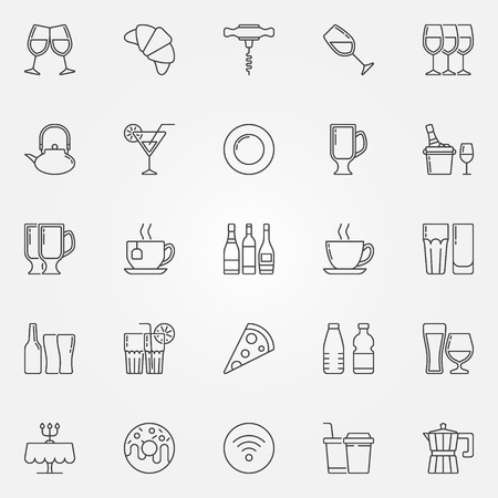 Cafe and bar icons. Vector set of food, drinks and beverages concept symbols in thin line style Ilustração