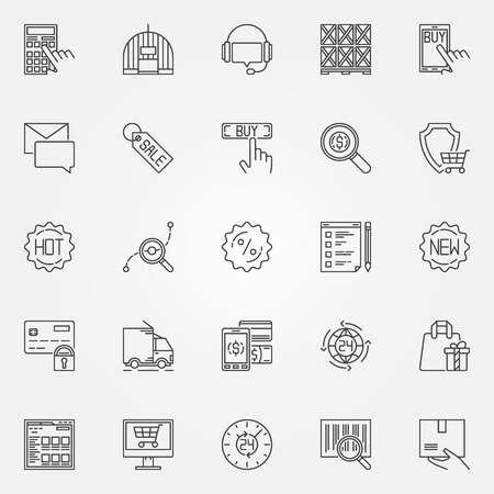 ecommerce icons: Ecommerce icons set - vector linear shopping symbols or logo elements. Thin line commerce concept signs