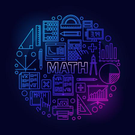 algebra calculator: Math round bright symbol. Vector colorful mathematics school subject bright sign in thin line style on dark background Illustration
