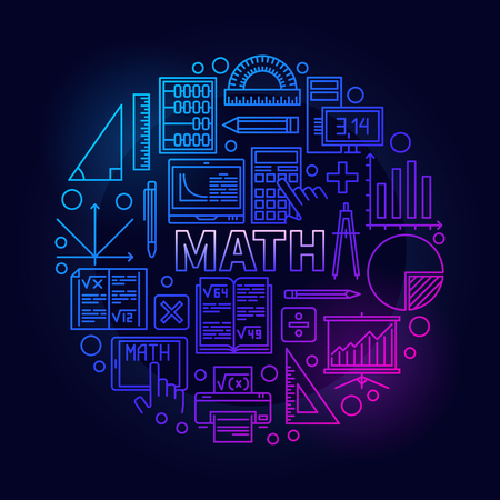 Math round bright symbol. Vector colorful mathematics school subject bright sign in thin line style on dark background Illustration