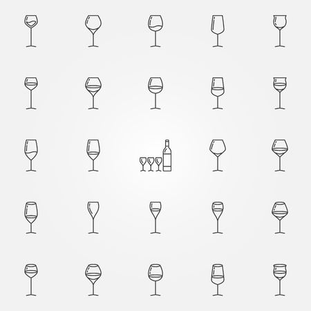 hock: Wine glasses icons set. Vector thin line black concept glasses for alcoholic drinks symbols and champagne flutes signs