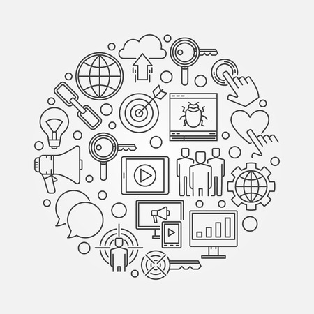 anchor man: Internet marketing round illustration. Vector digital marketing creative symbol made with thin line icons