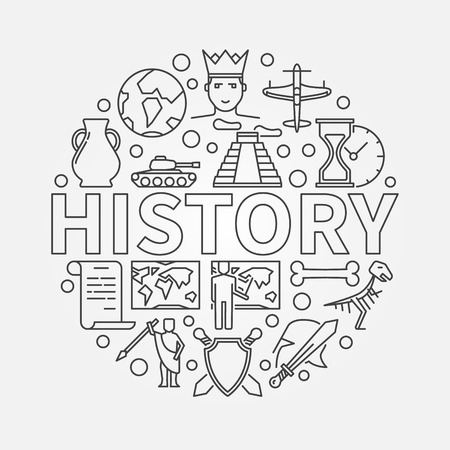 subject: History linear history school subject round symbol made with thin line icons Illustration