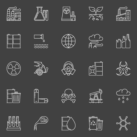 radiation pollution: Pollution outline icons.  set of global environmental pollution linear concept signs or logo elements on dark background