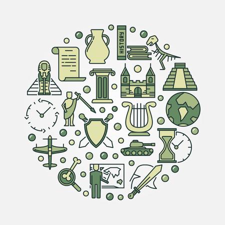 역사 교육 라운드 기호입니다. 녹색 역사 아이콘으로 만든 벡터 순환 교육 개념 표지판