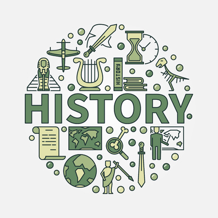 History green round symbol. Vector colorful flat circular symbol of the study of past events with word history in center