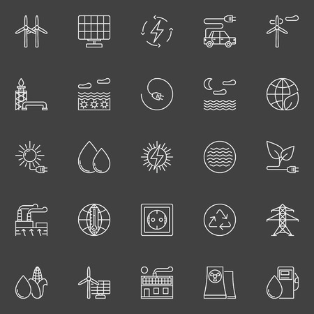 Alternative and renewable energy icons. Vector collection of white linear energy resources symbols or signs on dark background