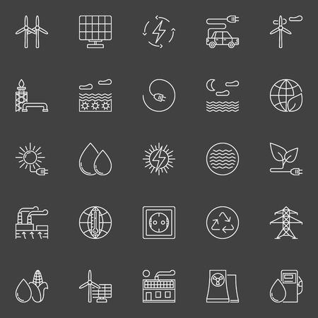 Icônes d'énergie alternative et renouvelable. Collection vectorielle de symboles ou signes de ressources en énergie linéaire blanc sur fond sombre Banque d'images - 67206229