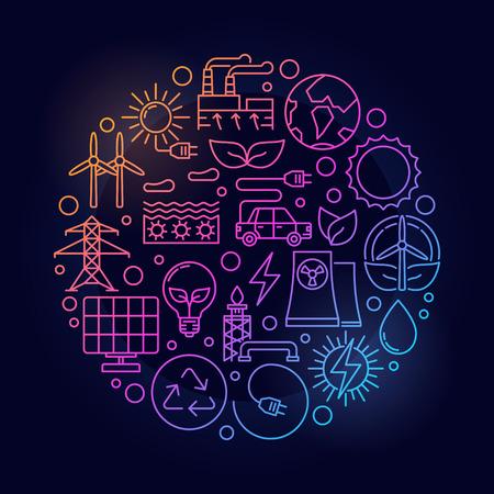 Alternative energy sources sign. Vector bright circular linear renewable energy concept symbol on dark background Illustration