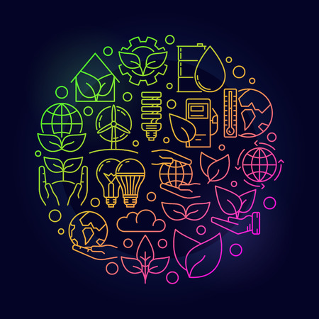 Ecological colorful concept. Round thin line ecology vector symbol on dark background. Save the planet bright illustration Illustration