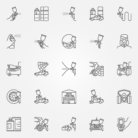 Car Painting icons set. Vector linear car paint symbols. Auto painting with spay gun signs in thin line style Illustration