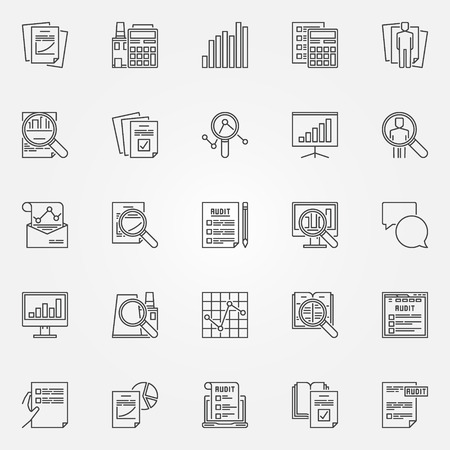 Audit pictogrammen instellen. Vector financiële controletekens in dunne lijnstijl. Business en analytics schetsen minimale symbolen