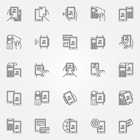 NFC payment icons. Vector collection of smartphone and card NFC paying with POS terminal signs in thin line style Vettoriali
