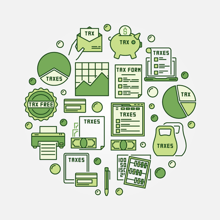 paying: Tax round green illustration. Vector colorful paying taxes concept sign