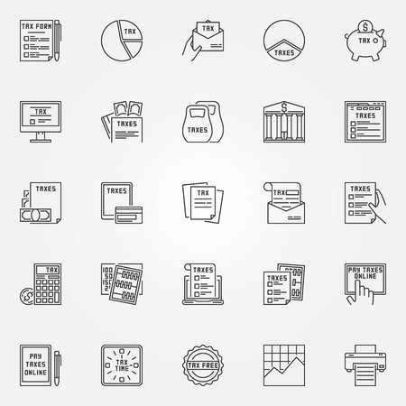 tax form: Tax icon set. Vector tax form outline symbols. Minimal taxes signs and finance design elements in thin line style