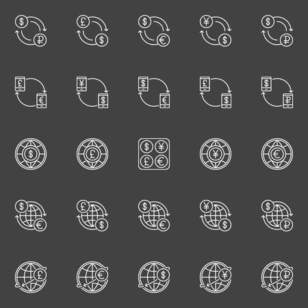 rub: Money convert vector icons. Dollar, Euro, Pound, Ruble and Yen currency exchange outline signs. USD, EUR, GBP, RUB and JPY concept linear symbols on dark background