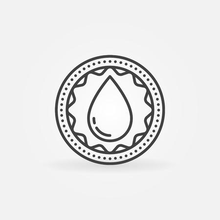 simple logo: Donate blood linear badge. Vector simple round donation symbol or logo element. Blood drop badge Illustration