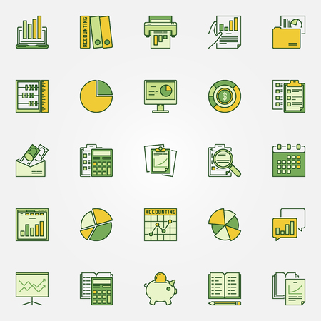 Colorful accounting icons. Vector set of research and planning creative symbols of logo elements Illustration