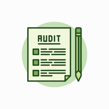 auditing: Audit documents green icon. Vector document with pencil concept flat symbol. Auditing colored sign