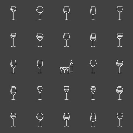 hock: Wine glasses line icons. Vector collection of standart, flute, tulip and hock glasses signs or logo elements on dark background