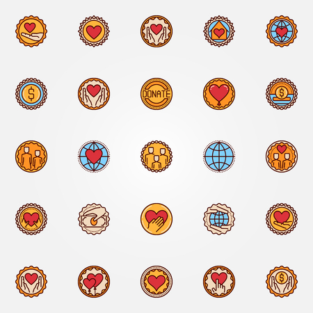 philanthropy: Charity and donation colorful badges. Vector set of philanthropy flat symbols. Hands with heart creative signs or labels
